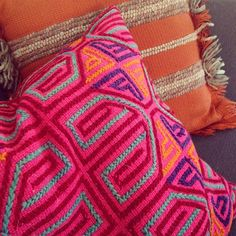 bright patterned pillows
