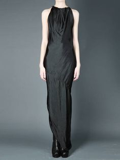 RICK OWENS - SLEEVELESS LONG DRESS WITH GATHERED FRONT PANEL, ASYMMETRIC HEM AND SLIT AT BACK