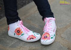 Casual Fashion Shoes for girls -Hand Painted Sneakers with poppy flowers - Facebook: Lulush.Shoes