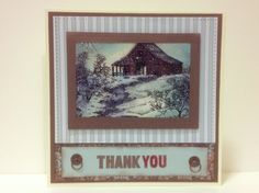 Thank you homemade card, stampscape scene stamps with clones to my heart paper and ink Paper Hearts, Homemade Cards, Stamps, Scene, Ink, Frame, Decor, Seals, Picture Frame