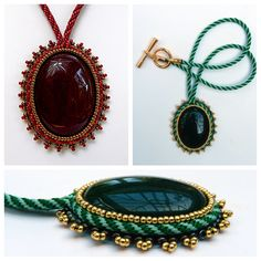 Kumi-cabs- Tutorial with step-by-step instructions on how to bring together elements of bead embroidery, soutache and kumihimo to frame a cabochon in an innovative and secure design. This is the first tutorial in a planned series of designs.