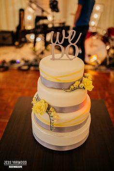 Croeshowell Wedding North Wales Photographer Jess Yarwood Photography Cake We Do Yellow Grey