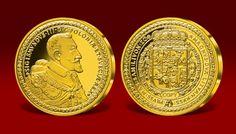 Replika polskiego dukata, z wizerunkiem Zygmunta III Wazy z 1621 roku, uznawanego za najdroższą monetę europejską.