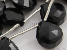 Natural ''NO TREATMENT'' Black Onyx Faceted Heart by Beadspoint, $21.95