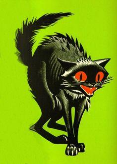 Illustration Halloween retro comics friday the 13th Black Cat ...