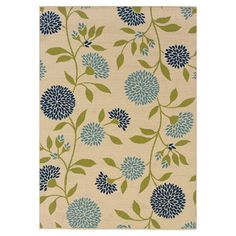 Indoor/outdoor rug with a chrysanthemum motif.  Product: RugConstruction Material: PolypropyleneColo...