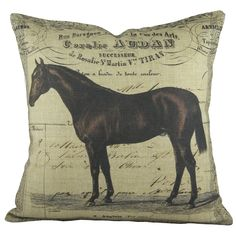 "Features:  -Horse collection.  -Fill material: 100% Polyester.  -Comes with zipper closure.  -Made in the USA.  Product Type: -Throw pillow.  Color: -Brown.  Style: -Contemporary.  Size: -16"" Square."