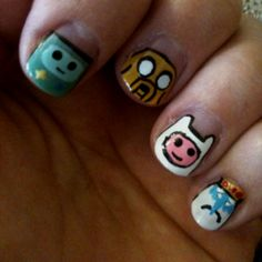 Adventure Time nails, inspired by cutepolish's YouTube video.