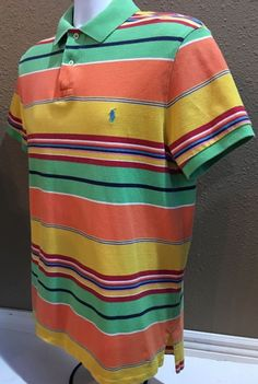 ade5ea2a7398d1 Polo by Ralph Lauren Polo Shirt 100 Cotton Striped Multi Color Large   eBay  Stylish Menswear