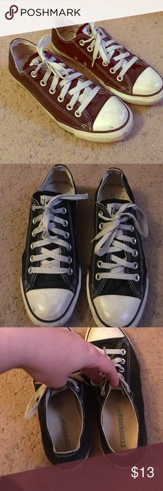 Converse All Star Sneakers Black and white low top Converse All Star! Scuffs throughout. Original laces. Insides are very clean though the inside heel area is getting worn (see last pic). These are very old shoes, probably ten or eleven years old. Great for yard work, themed events, etc. Women's size 8, Men's size 6. Converse Shoes Sneakers