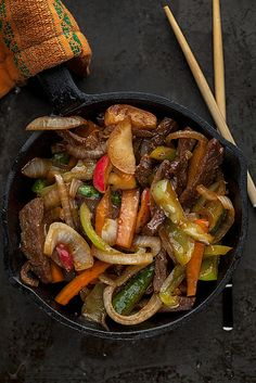 A Simple Stir-Fry, via Flickr. beef with peppers, carrots, onions