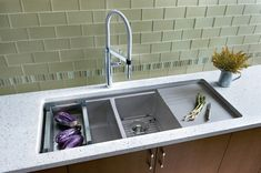 Undermount Double Kitchen Sink With Drainboard - Sink And Faucets : Home Decorating Ideas Kitchen Inspirations, Sink, Stainless Steel Kitchen Sink, Double Kitchen Sink, Modern Kitchen, Kitchen Remodel, Kitchen Faucet, Modern Kitchen Sinks, Sink Design