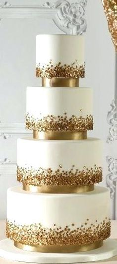 Image result for simple gold wedding cakes
