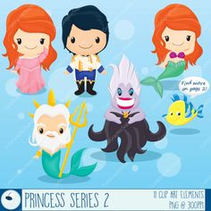 Princess Mermaid clipart Little mermaid by CuteGraphicSupply