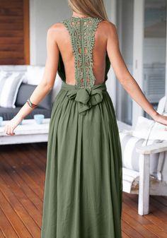 Army Green Maxi Dress , - Lookbook Store, Lookbook Store - 1