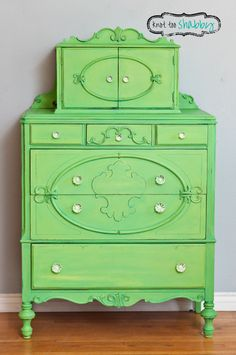 This vintage dresser received a sassy Granny Smith Green custom color of Antibes Green & English Yellow Chalk Paint® decorative paint by Annie Sloan | By Stockist Knot Too Shabby
