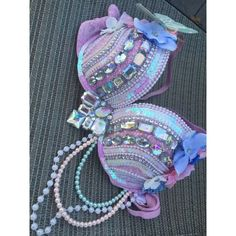 Unicorn inspired rave bra Pastel unicorn rave bra with pastel pearls hanging Other