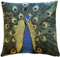 -Tapestry Cushion finely woven by skilled weavers on Jacquard looms. Made in England by Hines of Oxford, this fine quality cushion is meticulously hand-finished with a luxurious British Velvet back. Select from Cushion with Filler (removable feat Black Throw Pillows, Throw Pillow Sets, Outdoor Throw Pillows, Accent Pillows, Toss Pillows, Pillow Cases, Peacock Pillow, Peacock Decor, Peacock Art