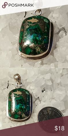Green copper turquoise pendant Beautiful turquoise set in 925 sterling silver Robin's Nest Jewels  Jewelry Necklaces
