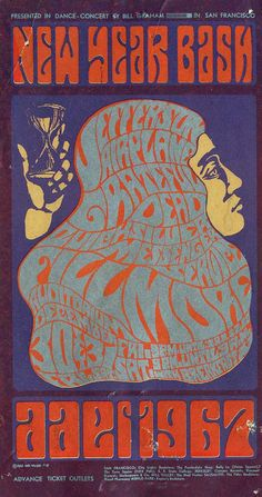 ecember 30-31 1966 Artist Wes Wilson. Postcard for 'New Year Bash' Jefferson Airplane, Grateful Dead, Qucksilver Messenger Service at Fillmo...