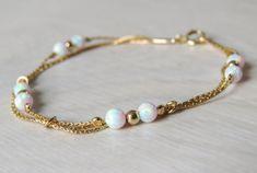 White Opal bracelet opal bead bracelet opal gold by miniLALI