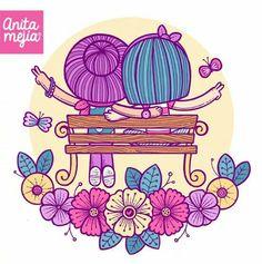 Anita Mejía dibujo amigas banco flores primavera colores