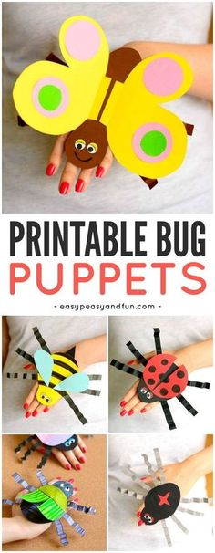 Printable Bug Puppets - Easy Peasy and Fun : Printable Bug Paper Puppets! A fun craft for kids to make this spring or during a bug unit! Insect Crafts, Bug Crafts, Paper Crafts, Paper Paper, Clay Crafts, Crafts For Kids To Make, Projects For Kids, Kids Crafts, Crafts For Camp