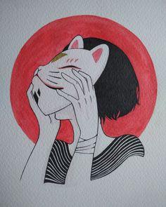 #kitsune #girl #mask #illustration #watercolor #japanese