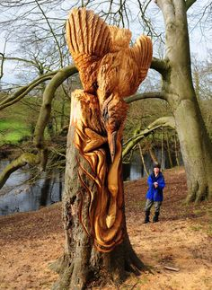 Tommy Craggs who makes a living traveling around the world carving all matter of mystical creatures, animals, and figurative works into trees.