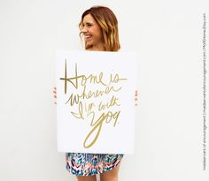 Typography Art Print Home is Wherever I am with You by MofEHome
