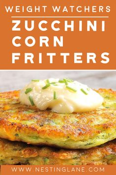 Weight Watchers Zucchini Corn Fritters Recipe - A delicious Fall vegetable side dish recipe with cumin, eggs, butter, corn, cheddar cheese, and zucchini. A quick 19 minute recipe. 5 Smart Points. Weight Watchers Zucchini, Weight Watchers Vegetarian, Weight Watchers Meals, Fall Vegetable Side Dishes, Vegetable Sides, Zucchini Corn Fritters, Corn Fritter Recipes, Instagram Ideas, Side Dish Recipes