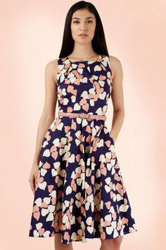 Closet London  Navy Pink Hearts Dress  102 39 18765 20160317 0009M3