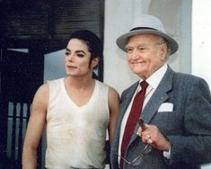 "Michael Jackson & Red Skelton on the set of MJ's ""In the Closet"" video shoot"