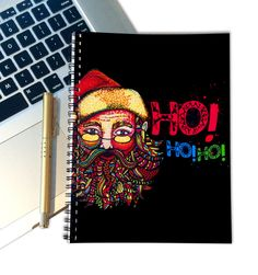 Christmas Notebook - Decorative Notebook - Santa Claus - Quote - Christmas Decor - Tribal Art - Drawing - Typography Art