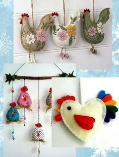 Rooster - a symbol of 2017 with his own hands, ideas and master class Felt Crafts, Easter Crafts, Diy And Crafts, Crafts For Kids, Felt Christmas, Christmas And New Year, Christmas Crafts, Christmas Ornaments, Felt Patterns