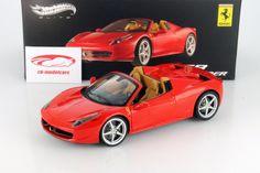 Hersteller: HotWheels Elite Maßstab: 1:18 Fahrzeug: Ferrari 458 Spider Baujahr: 2012 Artikelnummer: BCJ89 Farbe: rot EAN 746775285913 Das Modell wurde in der gewohnt hochwertigen HotWheels Elite-Qualität produziert und spiegelt das Original bestmöglich wieder.  Modellbesonderheiten:  originalgetreue Innenraumausstattung detaillierter Motorraum lenkbare Vorderräder zu öffnende Motorhaube, Türen und Kofferraum