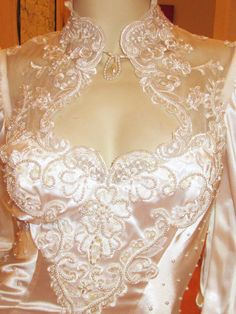 vintage white heavily beaded satin wedding gown with by ZoeMaude, $155.00