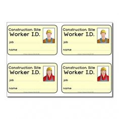 Role Play Construction Site ID Badges (with images) - Primary Treasure Chest Construction Area Ideas, Construction Eyfs, Construction Area Early Years, Construction Theme Classroom, Construction Business, Construction Birthday, Construction Design, Role Play Areas, Kids Role Play