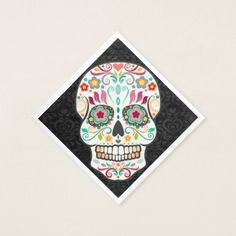 Shop Feliz Muertos - Festive Sugar Skull Paper Napkins created by creativetaylor. Sugar Skull Design, Ecru Color, Paper Napkins, Damask, Festive, Presentation, Party, Prints, Fun