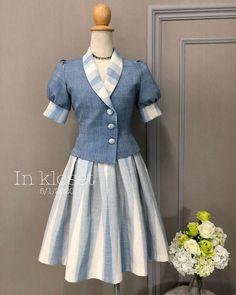 Cute Dresses, Vintage Dresses, Girls Dresses, Western Tops, Batik Fashion, Thai Dress, Collar Dress, Silk Dress, Retro