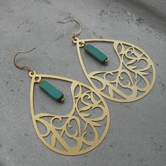Arabian Collection - Asriyah  - beautiful gold plated Arabic earrings with real Moroccan turquoise