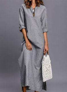 Stripe Pockets Sleeves Maxi Shift Dress Dress – Striped Sleeves and Maxi Dress Linen Dresses, Modest Dresses, Casual Dresses, Fashion Dresses, Summer Dresses, Maxi Dresses, Casual Outfits, Shift Dress Summer, Wedding Dresses