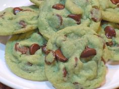 Mint Chocolate Chip Cookies! Gonna make this and watch How the Grinch Stole Christmas:)