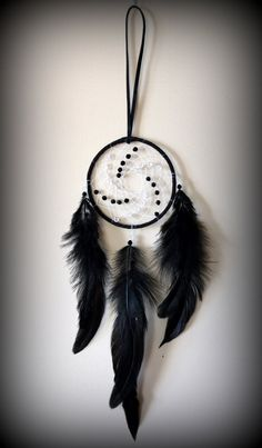 Black Suede Dream Catcher with glass beads. by DreamySummerNights, $7.00