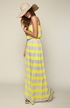 Splendid Magnolia Stripe Strapless Maxi Dress - Has striped and maxi by The Style Genome Project Clothes For Summer, Summer Outfits, Summer Dresses, Cute Outfits, Summer Maxi, Summer Sun, Striped Maxi Dresses, Cute Dresses, Grey Maxi