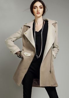 Love the colors on this Contrast Wool Coat $120