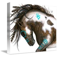 horse art - Majestic Mustang Pinto Native American Spirit Paint Horse Feathers ArT Giclee Print by Bihrle Native American Horses, Native American Decor, Native American Bedroom, Native American Paintings, American Indian Decor, Native American Drawing, Paint Horse, Horse Art, Feather Painting