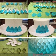 how to make a layered petal cake. or you cut a flower, ruffled each petal with a ball tool and then cut the petals off individually...that's the cake boss method