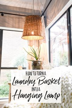 I turned a thrift store laundry basket into a hanging lamp. This cheap and easy DIY project takes a thrifted basket and transforms it into a beautiful DIY woven pendant light. Learn how to make your own hanging light using a basket, a lighting swag kit, s Boho Lighting, Basket Lighting, Outdoor Lighting, Bohemian Living Rooms, My Living Room, Cottage Living, Diy Hanging, Hanging Lights, Hanging Lamps