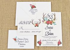 Floral and antler wedding invitation - see more at http://themerrybride.org/2014/09/07/beautiful-wedding-invitations-on-etsy-com/